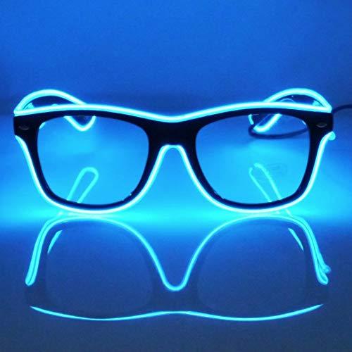 GCBTECH LED Brille Blau neon Leuchtbrille EL Leuchtende Gläser Einstellbar Stimmkontrolle Partybrille mit Batterie Box für Party Weihnachten Dekor(Blau)