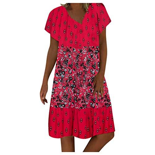 Auifor Damen Vintage Boho Floral Strand Kleid Sommer V-Ausschnitt Kurzarm Casual Mini Kleid(B-Rot,XX-Large)