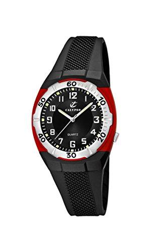 Calypso K5215/4 - Reloj analógico infantil de cuarzo con correa de plástico negra - sumergible a 50 metros