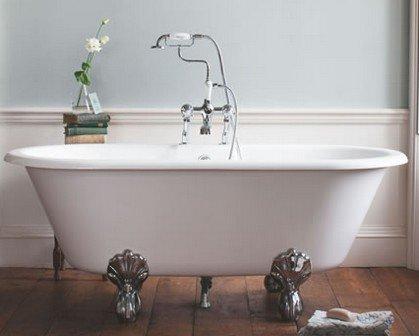 Casa Padrino Jugendstil Badewanne Naturstein freistehend 1700mm BBlan Weiß - Freistehende Retro Antik Badewanne, Badewannen Füsse:Standard Traditional Silber