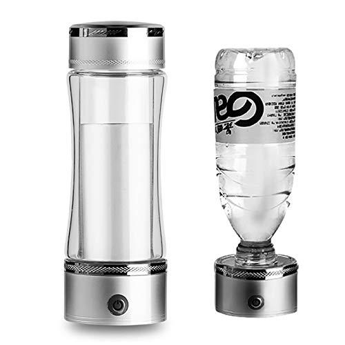 ZZSQ Generador De Botellas De Agua De Hidrógeno Ionizador De Agua De Hidrógeno Alcalino USB Recargable Portátil De 3 Min Alta Concentración Contenido Producir Hidrógeno hasta 1200-1600PPB 450Ml,Plata