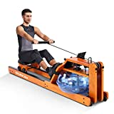 RUNOW Water Rowing Machine with LCD Monitor Water Rower Wooden Adjustable Resistance Oak Wood Rowing Machine for Home Use