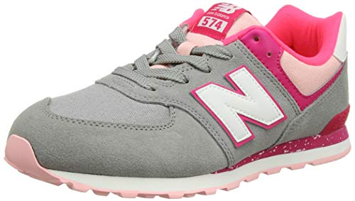 New Balance Unisex-Kinder 574v2 Sneaker, Grau (Grey/Pink Zing Hb), 39 EU
