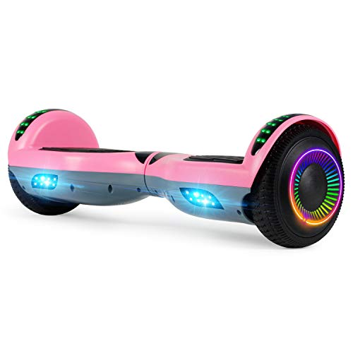 """Felimoda Hoverboard, 6.5"""" Self Balancing Hoverboard with Bluethooth and LED Light for Kids & Adult, UL2272 Certified (Pink-Gray)"""
