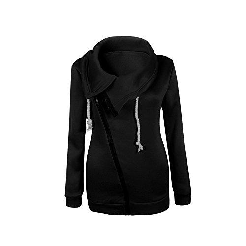 Womens Casual Hoodie Long Sleeve Zipper Solid Color Sweatshirt Tops Coats Jacket Black L