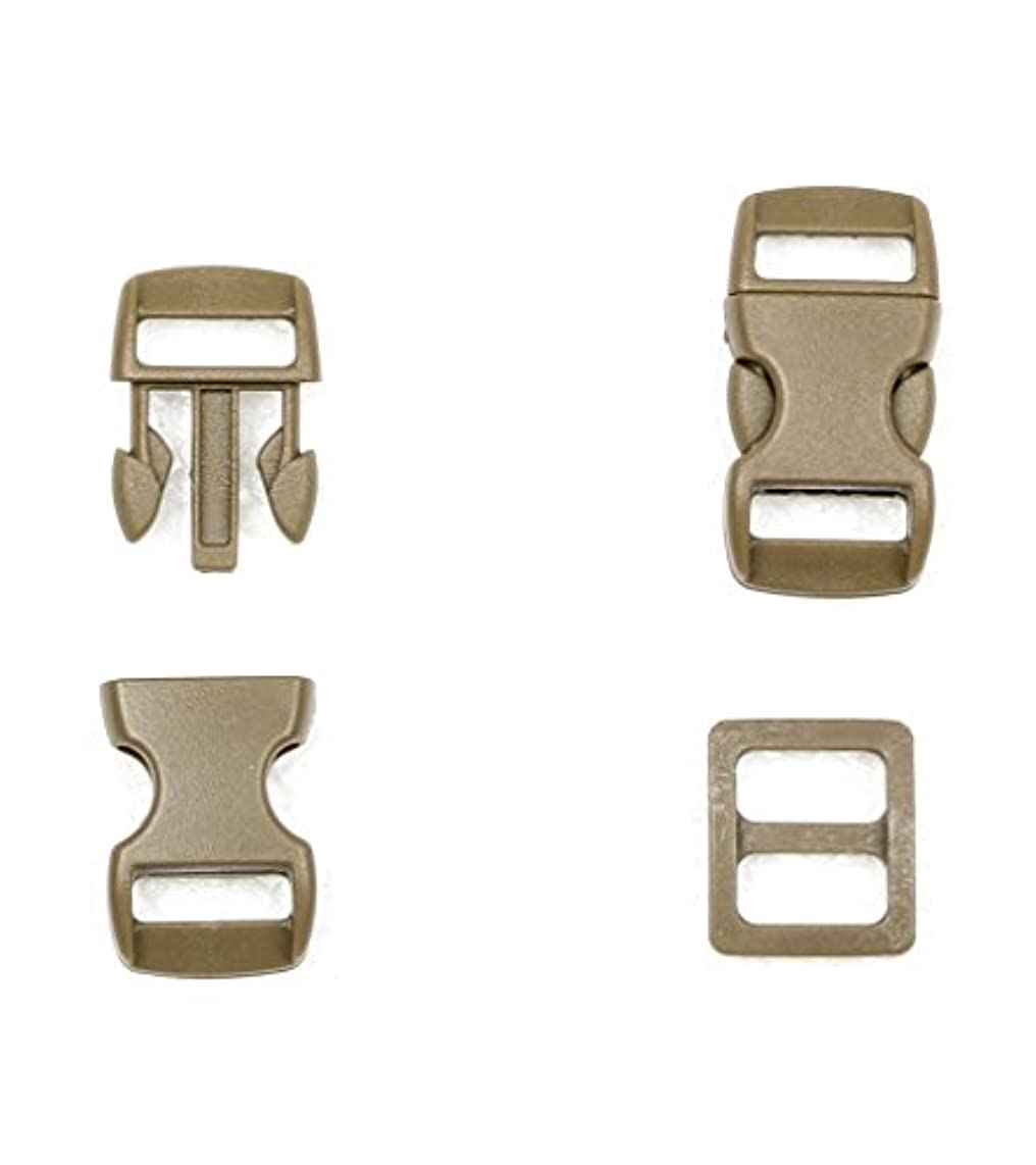 Ninepeak 10 Pcs Flat Side Quick Release Plastic Buckles and 10 Pcs Plastic Triglides Slides, Coyote Brown (Fit for 5/8
