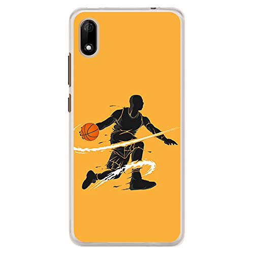 BJJ SHOP Funda Transparente para [ Wiko Y70 / Wiko Jerry 4 ], Carcasa de Silicona Flexible TPU, diseño : Jugador de Baloncesto regate