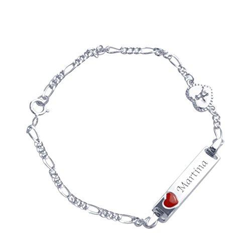 Bracciale con incisione nome per neonati/bambini - argento 925 con cuore rosso e angioletto / 16 cm / completo con scatola da regalo