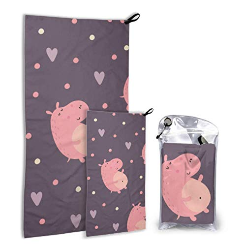 N\A Ugly Animal Hippopotamus 2 Pack Microfiber Womens Towel Beach Towel Lightweight Set Fast Drying Best for Gym Travel Backpacking Yoga Fitnes