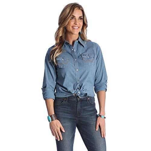 Wrangler - Camicia da lavoro da donna stile Western a maniche lunghe - Blu - L
