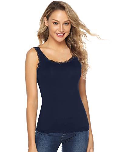 Abollria Damen Tanktop mit Spitzen Elegantes Spitzentop Weich Stretch Unterhemd,Navyblau,XL