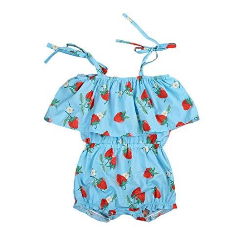NoBrand TEYUN Enfants Filles d'été Vêtements Ensembles Bébé Romper Ruffle Jumpsuit Coton (Color : Green, Size : 80)