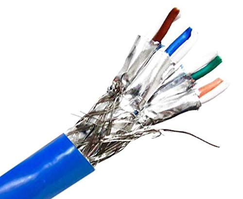 Micro Connectors 250 Feet Cat7 Bulk Ethernet 23AWG Cable Solid & Shielded (S/FTP) CMR Riser (Blue) (TR4-580SRBL-250)