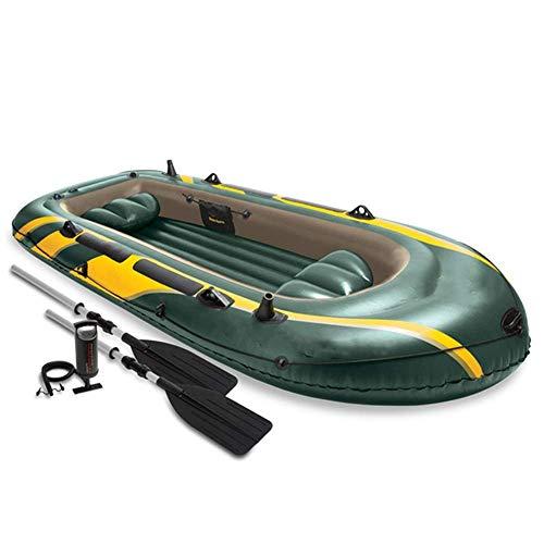 YYhkeby Barco Inflable Kayak 4-Persona Remo de Goma Rowing Barco de Pesca Inflable Engrosado Barco de Pesca Drifting Green Green para Jialele (Color : Green)