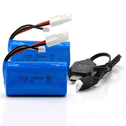 2 Pack 7.4V 1500mAh Li-on Battery Compatible for Feilun FT009 RC Boat with USB Charger