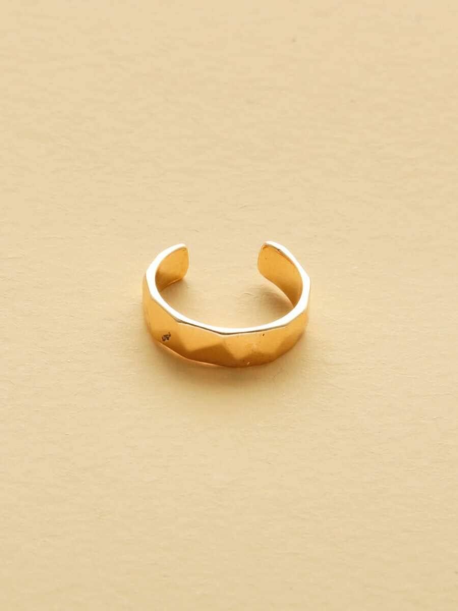 Hoop Earrings Textured Metal Ear Cuff (Color : Gold)