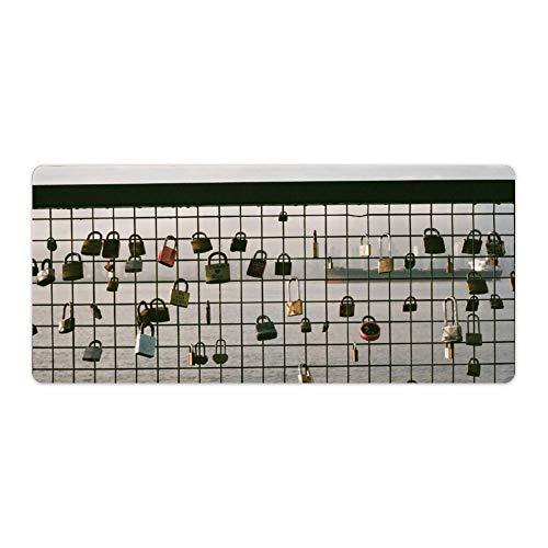 Mauspad,Tastatur Mauspad,Schreibtischpad Mesh Glaszaun Strukturierte Oberfläche mit rutschfester Gummibasis,Wasserdichter Schreibtisch-Schreibblock für Büro und Zuhause. 40x90cm