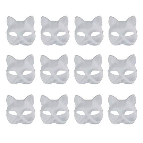 Vankcp Weiße Maske, 12 Stück, Halloween-Masken, weiße Maske, Papier, Vollgesichtsmaske Cat face white mask weiß