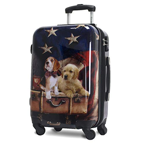 Chariot Printed Expandable Hardside Spinner Luggage Set, Freedom Pups, Carry-On 20-Inch