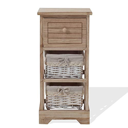 Rebecca Mobili Bedside Table Cabinet Bathroom Living Room 3 Drawers Wood Wicker Shabby Style Home Ideas 63 x 30 x 27 (H x W x D) - Art. RE6105