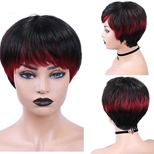 KHOBGLU Perruques Humaines Cheveux Courts Raides Les Femmes 150% Densité Mixte Naturel Noir Machine Made Pixie Cut Perruque 150% WigneeHAA20010