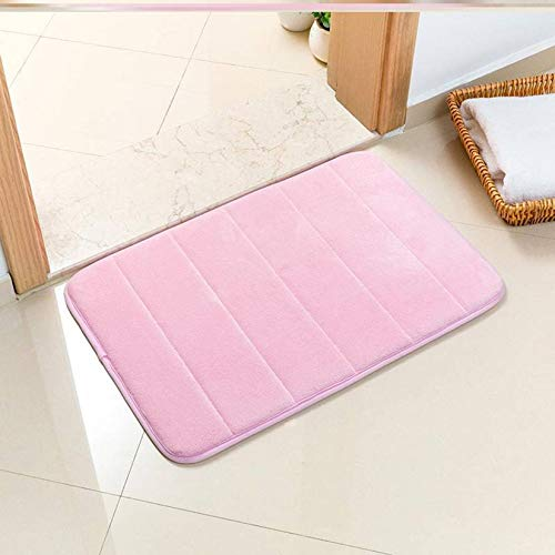 Unmbo Thicken Memory Foam Bath Mat, Extra Absorbent Non-slip Bathroom Rug Mat Kitchen Living Room Bedside Entrance Bathroom Doormat Soft Machine Washable Floor Mat-Pink-45x70cm