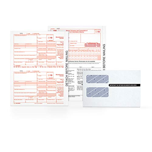 Tops 1099 MISC Forms 2019, 5 Part Tax Forms Kit, 26 Recipients Kit of Laser/Inkjet Forms, 3 1096 Summary Forms, 26 Self Seal Envelopes (TX22905KIT), White