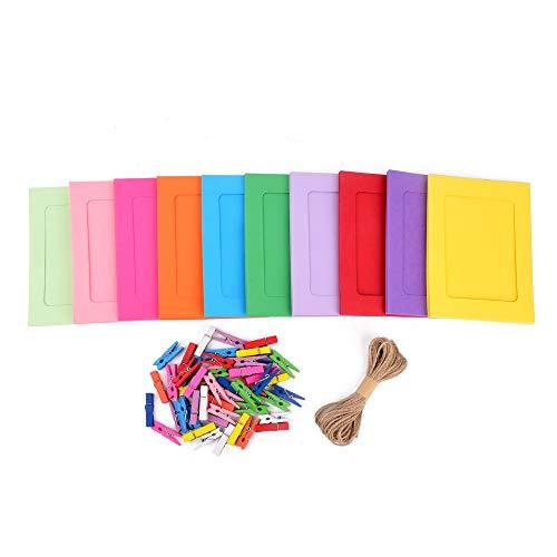 ewtshop® 50 Stück Papier-Bilderrahmen, Bilderrahmen aus Pappe in 10 Farben + Schnur + Bunte Miniwäscheklammern, Fotorahmen, DIY, Collage zum selbst gestalten