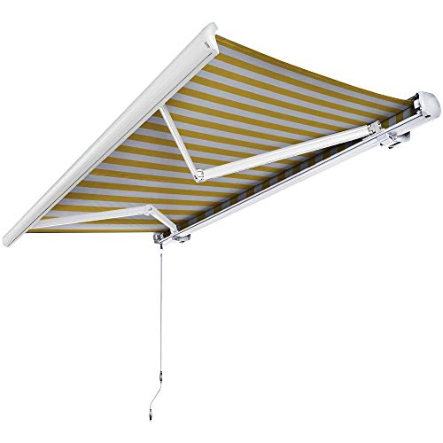 Nemaxx Kassettenmarkise elektrisch Vollkassettenmarkise mit LED, Markise gelb-weiß, Kassette weiß, Funk Fernbedienung, wasserdicht 450x300 cm (4,5x3m)