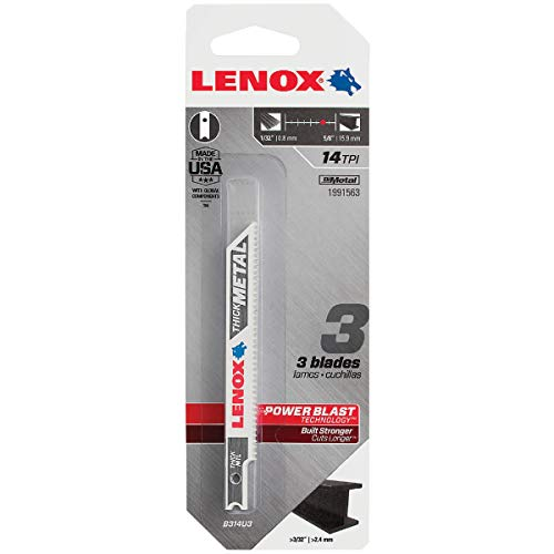 LENOX Tools 1991563 U-Shank Thick Metal Cutting Jig Saw Blade, 3 5/8