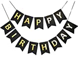 Black Happy Birthday Banner Signs Golden Sparkle Funny Birthday Party Supplies for Boy Birthday Party Decorations Baby Nursery Hanging Decor 13 Pcs