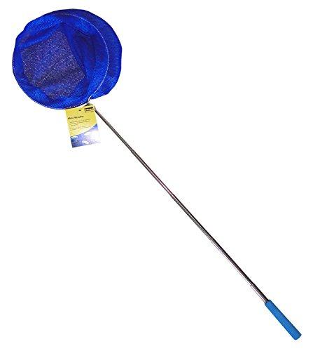 Idena 40076 - Mini Kescher aus Metall mit ausziehbarer Teleskopstange, von ca. 37 cm bis ca. 72 cm, für Kinder oder zum Angeln, blau