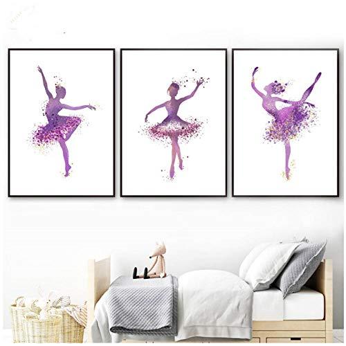 hdbklhjxk Moderne ballerina danseres en hoge hak poster abstracte druk canvas schilderij afbeelding huis muurkunst graffiti decoratie 40x60cmx3 niet-ingelijst