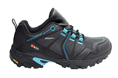 8000 Zap TRASER W 20V 37, Zapatillas de montaña Mujer, Negro/Azul Celeste, EU