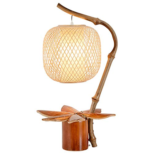 E27 Tafellamp, Met De Hand Geschilderd Bamboe Lampenkap Tafellamp, Manual Wire Insertion Tafellamp, Vintage Weave Table Lamp/Geschikt For Thuis Study