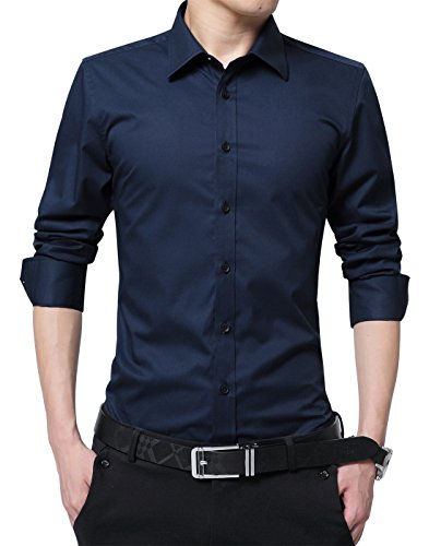 XTAPAN Men's Long Sleeve Casual Slim Fit Cotton Button Down Dress Shirt Asian 3XL Dark Blue-5618