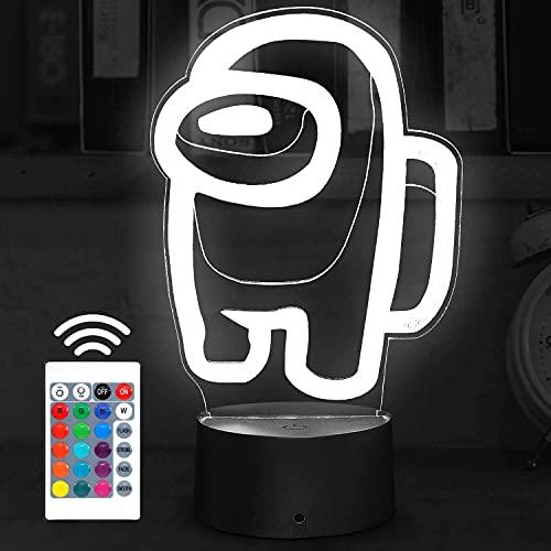 Partido 3D ilusión noche juego en nuestra lámpara de escritorio alimentado por USB 7 Color LED Interruptor táctil Control remoto Juego niños en ventilador regalo decoración dormitorio