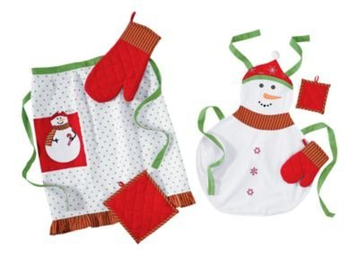 """""""SNOWMAN"""" - MOMMY and ME Matching Cooking Baking Apron Set 6pc / Kids SNOWMAN Apron / Kids Cooking Set"""