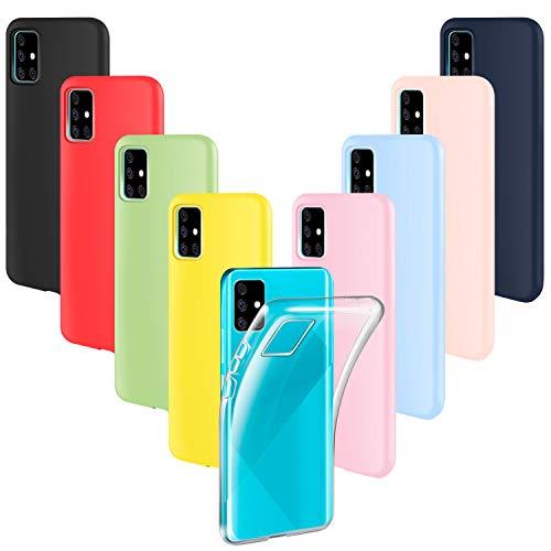 ivencase 9 Pack Funda Samsung Galaxy A51 4G, Carcasa Fina TPU Flexible Cover para Samsung Galaxy A51 4G (Rosa, Verde, Púrpura, Rosa Claro, Amarillo, Rojo, Azul Oscuro, Translúcido, Negro)