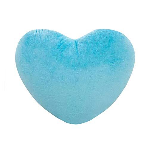 Cojín de peluche en forma de corazón, relleno mullido y mullido, para bodas, San Valentín y compromiso para niños, niñas, sofá, coches, dormitorio, tamaño 15, 20 y 30 cm (azul, 20 x 30 cm)