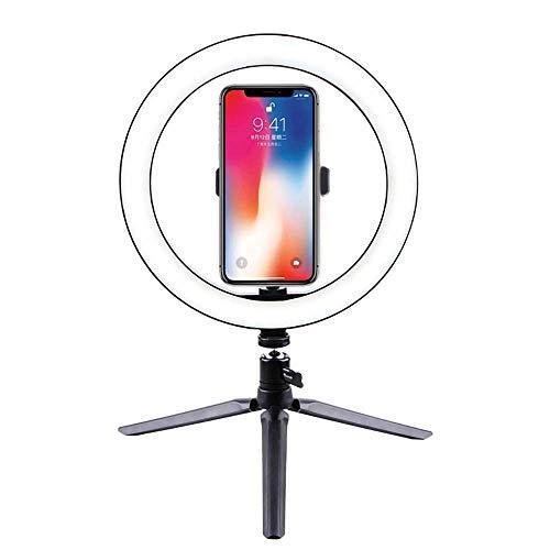 YAMAXUN 12W Selfie Ring Light con Trípode Y Soporte para Teléfono Celular Lámpara De Escritorio Mini Luz De Cámara LED para Youtube/Tiktok Video Y Maquillaje/Fotografía En Vivo 10'