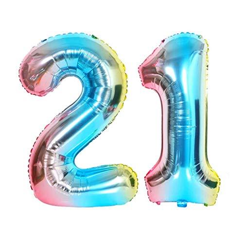 DIWULI, XXL Zahlen-Ballons, Zahl 21, blau bunt Schillernde Regenbogen Luftballons, Zahlen-Luftballons, Folien-Luftballons Nummer Jahre, Folien-Ballons 21. Geburtstag, Party, Dekoration, Geschenk-Deko