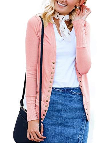 Traleubie Women's Long Sleeve V-Neck Maternity Button Down Shirts Cardigan Sweater Pink L