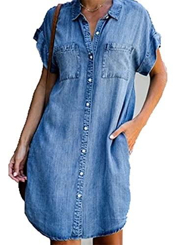 VICENT Vestiti Jeans Donna Estivi Vestiti Camicia Donna Maniche Corte Estate Blu Casual Vestito Denim Scoll A V Camicia Vestito