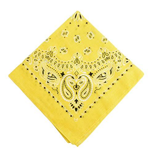 Yener katoenen bandana sjaal vierkante hoofddoek dames heren hiphop fiets bandana motorfiets bandana hoofddeksels sjaals hijab, geel, one size