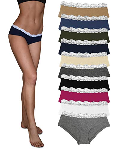 Sexy Basics Womens Lace Underwear Hipster Panties Cotton-Spandex / Ultra-Soft Cotton Stretch Underwear- 10 PACK (10 PACK- CORE SOLIDS, X-LARGE)
