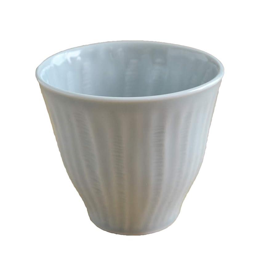 ロープ六月壊すテーブルウェアイースト 焼酎グラス しのぎ 湯呑み コップ 和食器 (グレー)