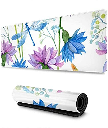 Watercolor Blue Flower Dragonfly Gaming Mouse Pad XL,Extended Large Mouse Mat Desk Pad, Stitched Edges Mousepad,Long Non-Slip Rubber Base Mice Pad,31.5X11.8 Inch