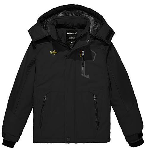 Wantdo Boy's Waterproof Ski Fleece Jacket Hooded Winter Coat Black 10/12