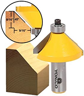 Yonico 13107 45 Degree Chamfer Edge Forming Router Bit 1/2-Inch Shank